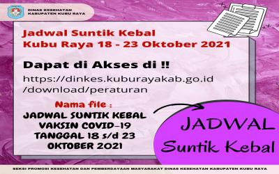 JADWAL SUNTIK KEBAL COVID-19 TANGGAL 18 S/D 23 OKTOBER 2021 WILAYAH KUBU RAYA